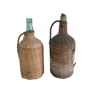 Antique Wicker Wine Demijohns - A Pair