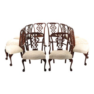 19th Century Chippendale Style Carved Mahogany Dining Chairs - Set of 10