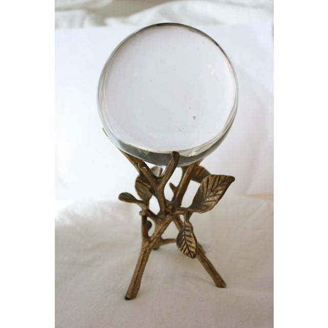 Image of Glass Orb on Brass Branch Base