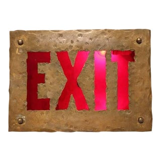 Early 1900's Brass Light Up EXIT Sign