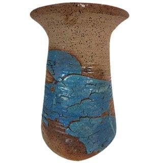 Blue Crackle Art Pottery Vase