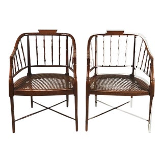 Faux Bamboo Chippendale Armchairs - A Pair