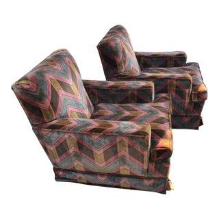 Vintage Plush Velvet Club Chairs - A Pair