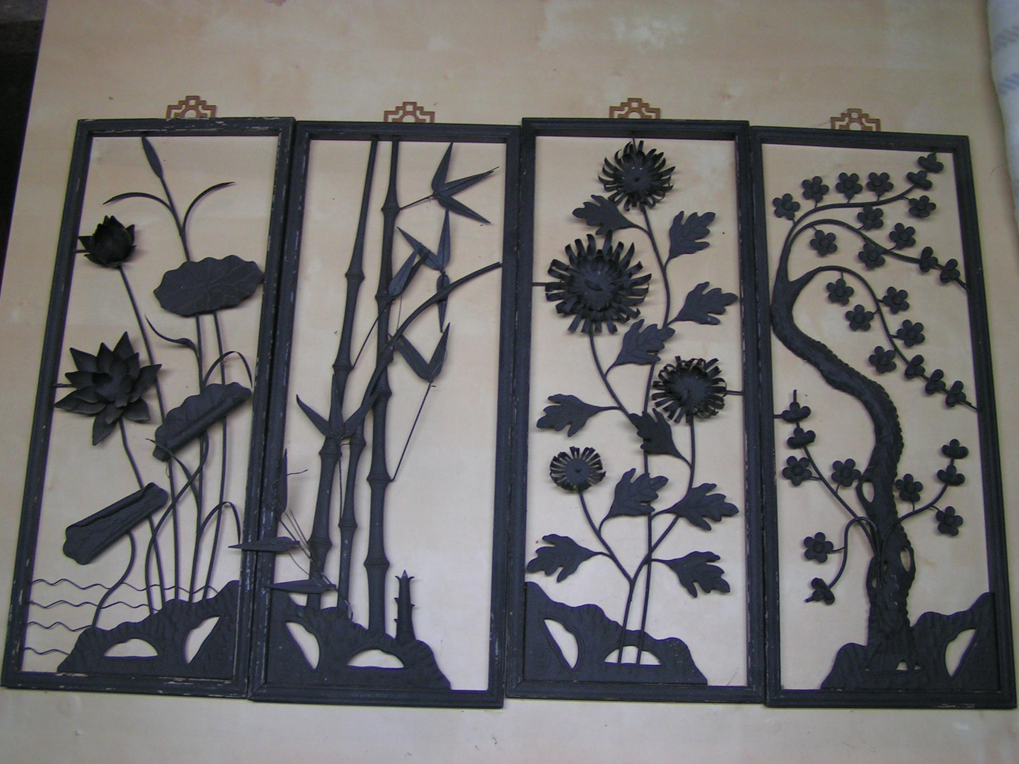 Vintage Metal Wall Art vintage 1940's chinese cut metal wall art panels - set of 4 | chairish