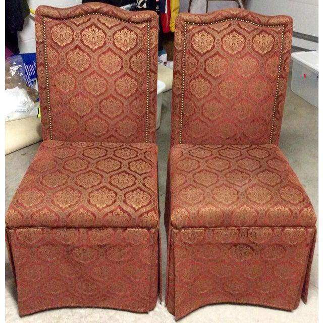 High back skirted parson chairs a pair chairish for High back parsons chair