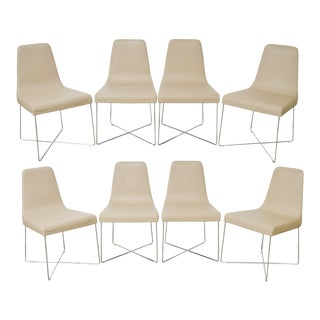 Ligne Roset Classic Modern Set of 8 Chrome & Leather Dining Chairs