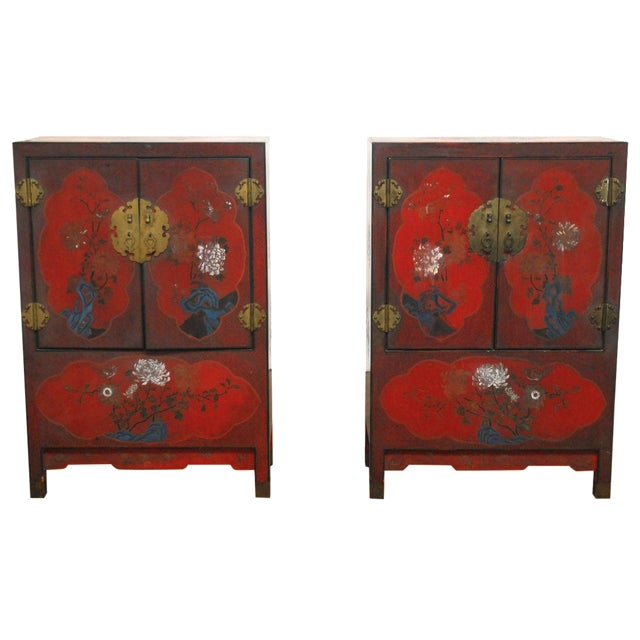Image of Red Chinese Polychrome Cabinets - A Pair