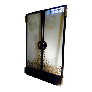 Art Nouveau Heavy Multi-Metal Etched Thick Glass Cruise Ship Doors - Pair