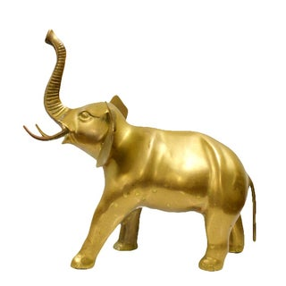 Large Beautiful Brass Elephant Sculpture