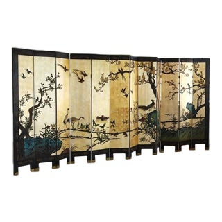 Chinese 12-Panel Double Sided Gold Black Lacquered Coromandel Screen