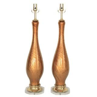 Mid-Century Modern Italian Murano Gold Glass Table Lamps MCM Venetian Venini- a Pair Millennial Pink