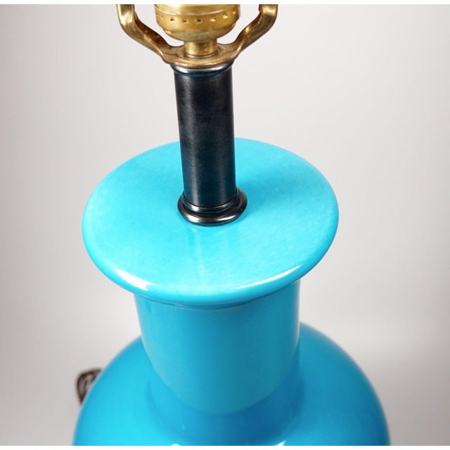 Vintage Turquoise Asian Ceramic Lamp - Image 4 of 5