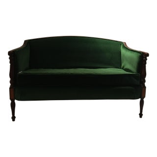 Green Velvet Federal Style Settee