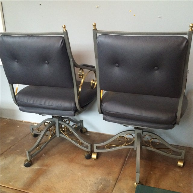 Hollywood Regency Office Chairs - A Pair - Image 5 of 9