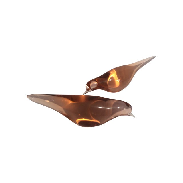 Image of Mid-Century Modern Italian Murano Glass Birds