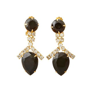 Onyx & Rhinestone Drop Earrings