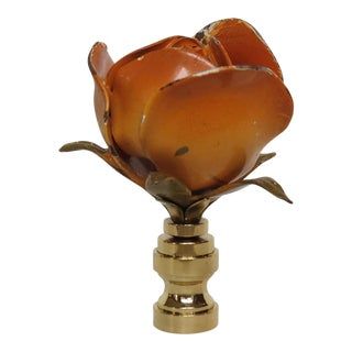Coral Orange/Pink Vintage Italian Tole Rose Finial, Single.