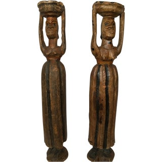 African Carvings of Women Carrying Baskets - Pair