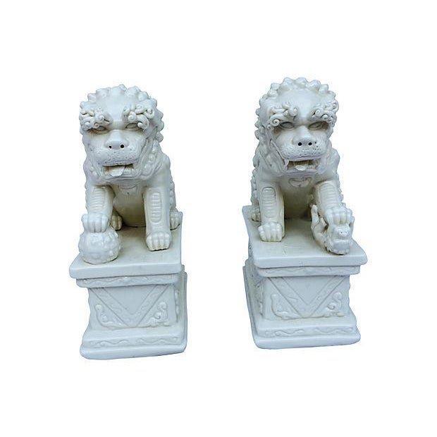 Blanc De Chine Foo Dog Statues, Pair - Image 4 of 5