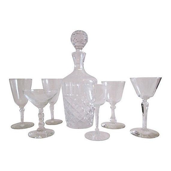 Image of Vintage Crystal Decanter Set - 7 Pieces