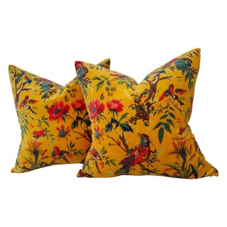 Yellow Floral Bird Velvet Pillows - A Pair