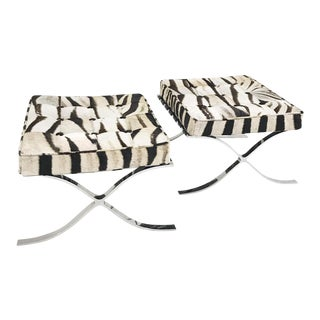 Forsyth One of a Kind Barcelona Style Ottomans Restored in Patchwork Zebra Hide - Pair