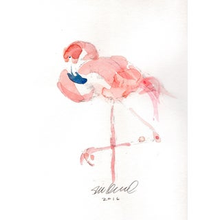 Pink Flamingo Watercolor Painting