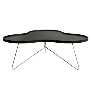 Swedish Modern Wood Clover Top & Chrome Base Coffee Table