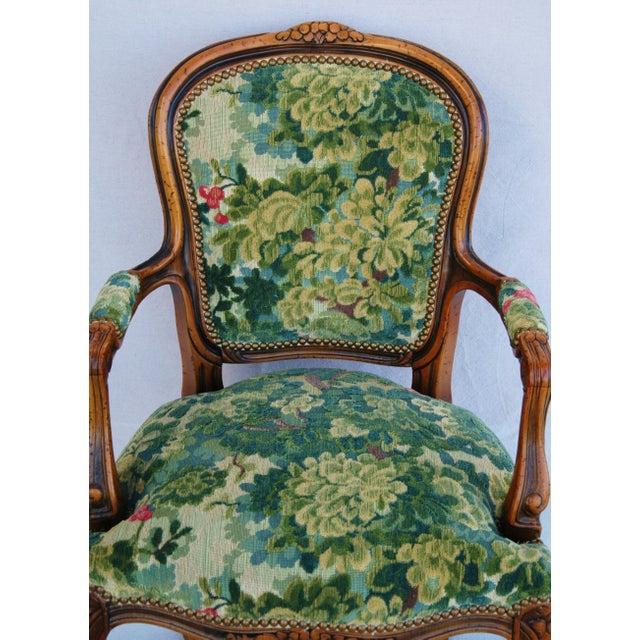 Scalamandre Marly Velvet Tapestry Upholstered Walnut Armchair - Image 5 of 10