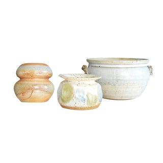 Mid-Century Modern Pottery Bowl & Vases - Set of 3