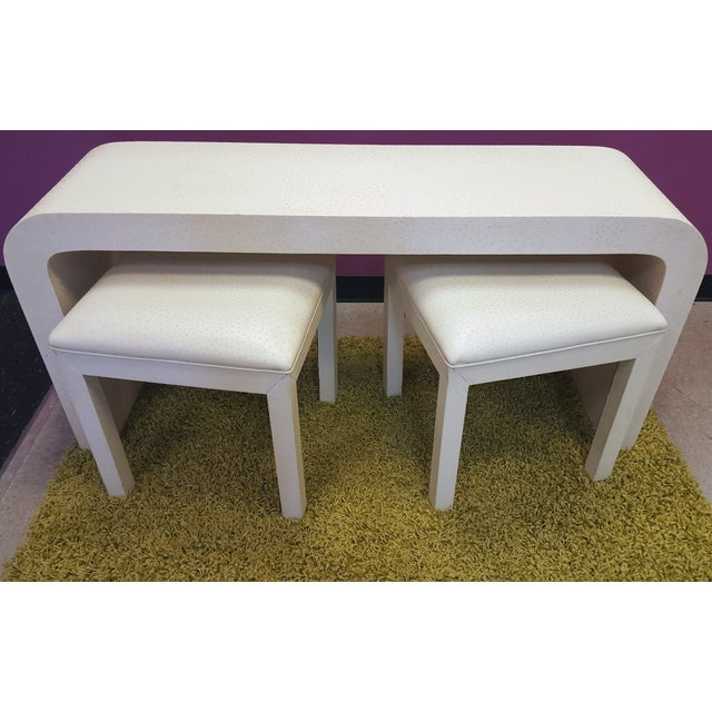 Bedell Faux Ostrich Console Table with Stools - Image 2 of 6