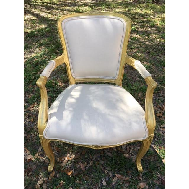 Vintage Ivory Linen Upholstered Armchairs - A Pair - Image 6 of 7