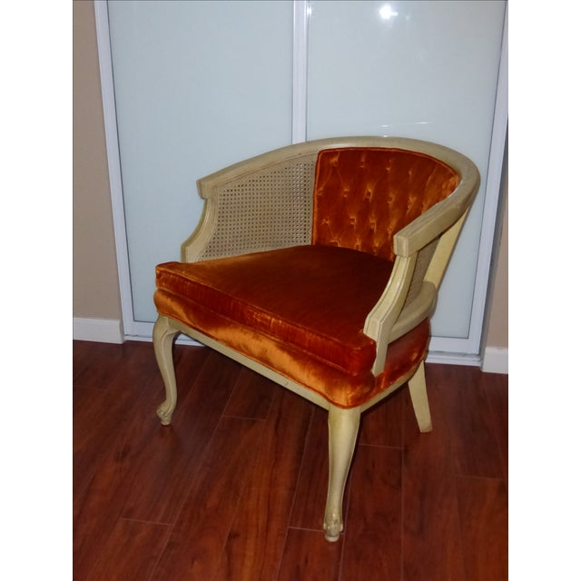 Vintage Cane & Orange Velvet Club Chair - Image 4 of 8