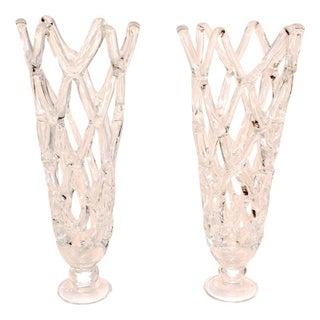 Large Crossed Glass Vases