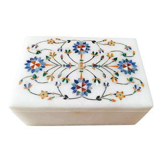 Semi-Precious Stone Inlay Marble Box