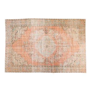 "Vintage Distressed Oushak Carpet - 6'3"" x 9'5"""