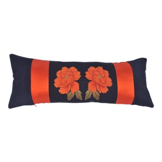 Japanese Vintage Silk Obi and Velvet Pillow