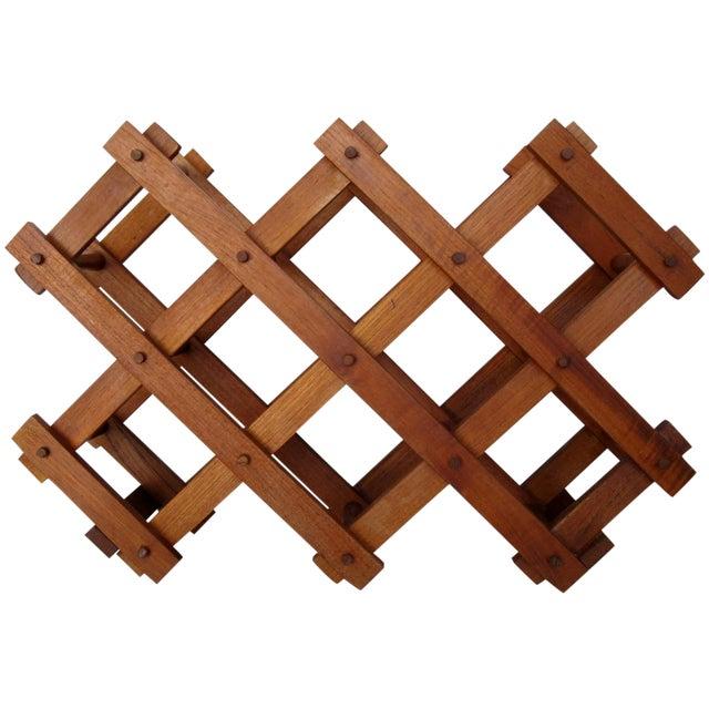 Teak Wood Wine Rack - Image 1 of 4