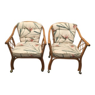 Bamboo Armchairs on Casters- a Pair