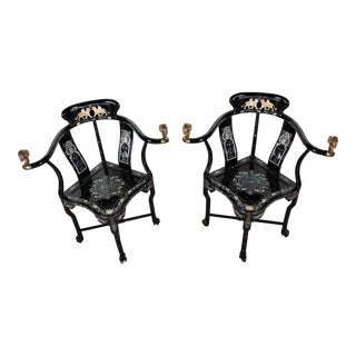 French Empire Mother-Of-Pearl Inlaid & Lacquer Armchairs - A Pair