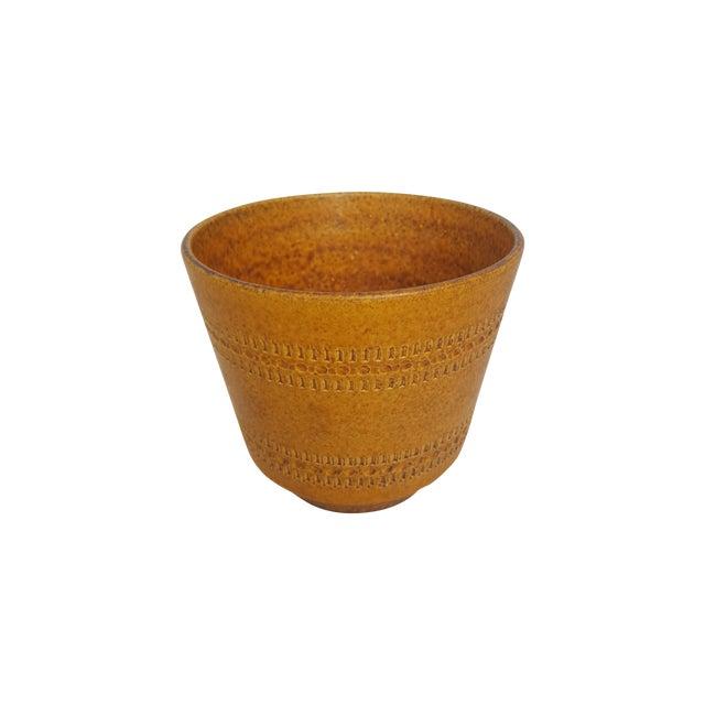 German Modern Etched Mustard Glazed Pot - Image 1 of 3
