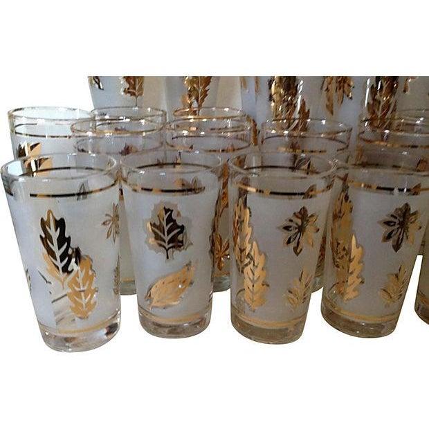 Image of 60's Golden Leaves Libby Glassware - Set of 26