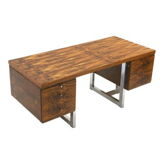 Fabio Lenci Desk, Rosewood and Chromed Steel in Excellent Condition, Rare