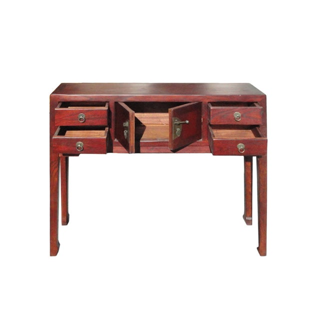 Image of Chinese Brown Narrow Slim Pedestal Side Table