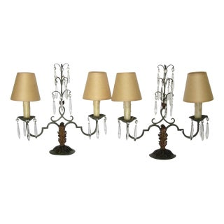 Circa 1870 French Iron & Crystal Lamps - A Pair