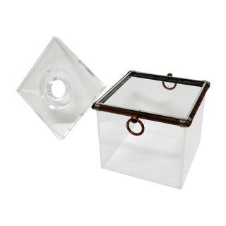 Vintage Cube Brass & Lucite Ice Bucket