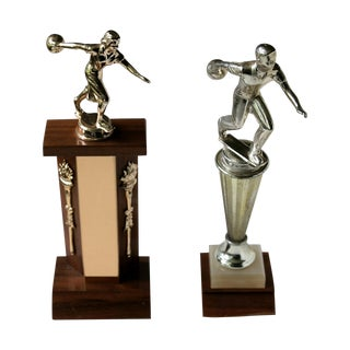 His & Hers Vintage Bowling Trophies - A Pair