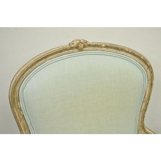 Vintage French Louis XV Style Distress Paint Carved Bergere Chair - Image 5 of 11