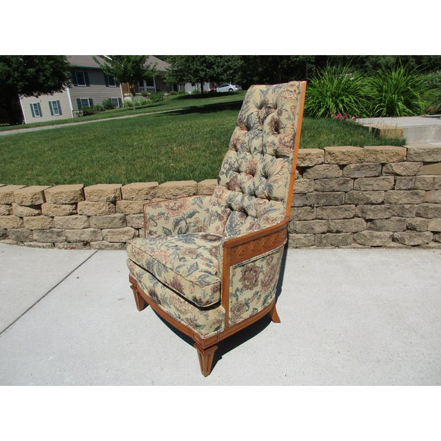Tufted High Back Armchair With Beautiful Wood Detail - Image 2 of 11