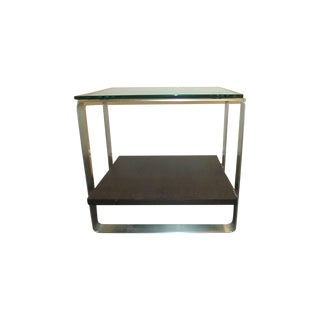 Modern Glass-Top & Steel Frame Side Table